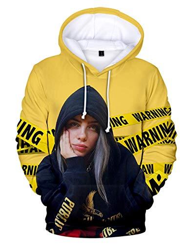 Pull Billie Eilish Femme, Ado Fille Hip Hop Fans Billie Eilish Sweat à Capuche Manches Longues Casual Imprimé Sweater Hoodie pour Unisexe