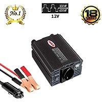 LIDER-300W600W Inversor de Corriente. Onda sinusoidad modificada, trasformador de DC 12V/ a AC 220V, para Coche con Puerto USB y Toma Encendedor y Pinza de bateria.