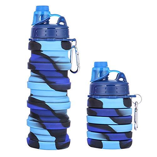 TRRY Botella de Agua Deportes, Botella de Agua Plegable de Silicona, con mosquetón, 100 % a prueba de fugas, sin BPA, botella de viaje, deporte, 500ml