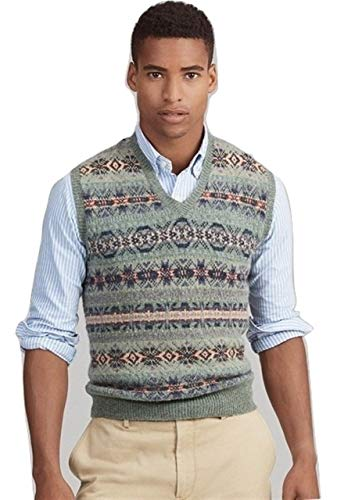 Ralph Lauren Polo Mens Wool-Blend Fair Isle Knit Sweater Vest (X-Large, Lovette)