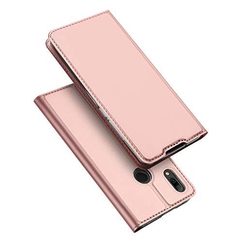 DUX DUCIS Hülle für Huawei P Smart 2019, Leder Klappbar Handyhülle Schutzhülle Tasche Hülle mit [Kartenfach] [Standfunktion] [Magnetisch] für Huawei P Smart 2019 (Rose Golden)