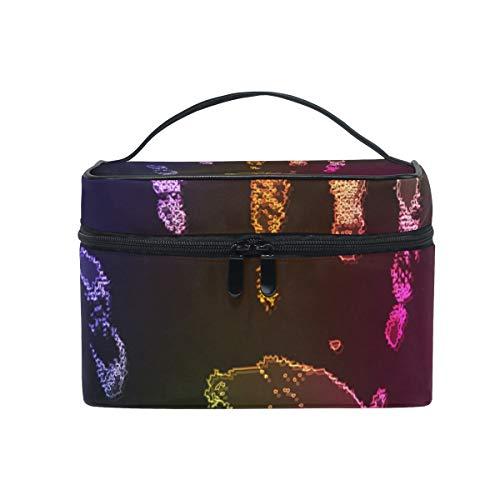 Trousse de maquillage avec fermeture à glissière cosmétique sac d'embrayage arc en ciel paume carte de doigt couche unique couche de stockage de voyage portable sac carré pour les femmes dame