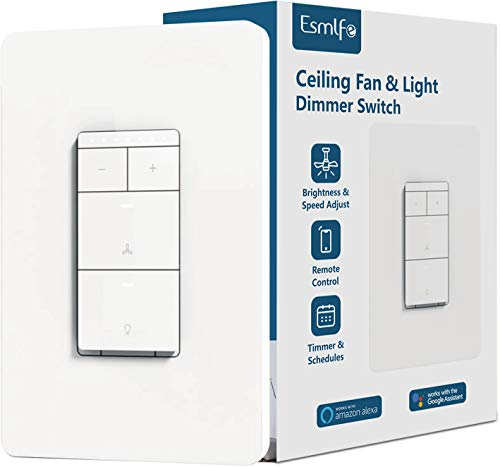 Esmlfe 2 in 1 Smart Ceiling Fan Speed Control and Dimmer Light Switch,Single Pole Wi-Fi Light Switch Fan Speed Control, Works with Alexa/Google Assistant, Schedule, Remote Control,Neutral Wire Needed