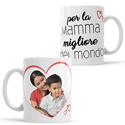 LaMAGLIERIA Tazza Personalizzata con la Tua Foto per la Mamma Migliore del Mondo! - Custom Mug in Ceramica Festa della Mamma - cod. DES25