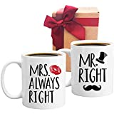 Mr Right Mrs Always Right Novelty Funny Coffee Mugs Wedding Gifts, Engagement Gift for Couples, Wife, Husband, Newlyweds, Unique Wedding, Set of 2 Mugs