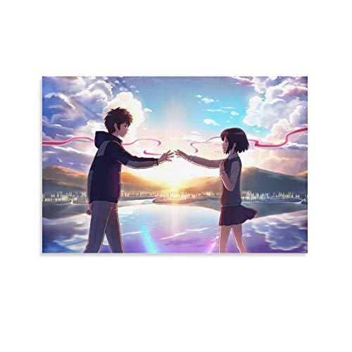 DRAGON VINES Kunstdruck auf Leinwand, Motiv: Makoto Shinkai Tachibana Taki Across Time, Hände halten, künstlerische Kreation, 50 x 75 cm