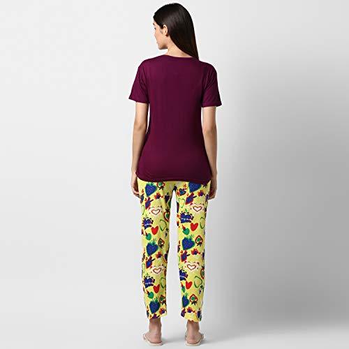 STYLESTONE Women's Purple and Yellow Cotton Night Suit Set (5001PurpYelloLuvL)