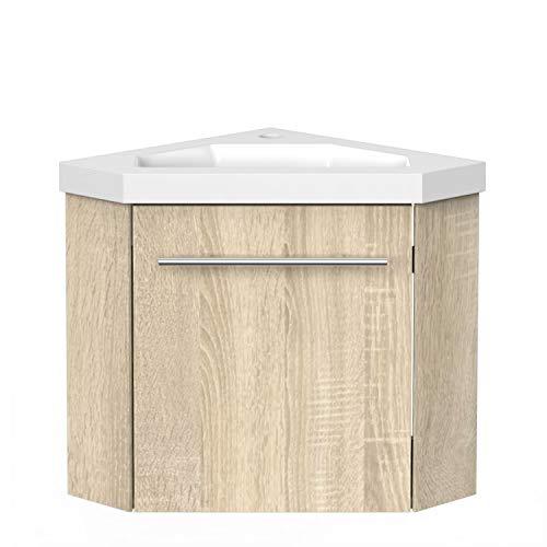 Aica Sanitär Eckwaschtisch 40 cm Eckschrank Vormontieren Waschbecken mit Unterschrank Waschtisch kleinmöbel Eiche