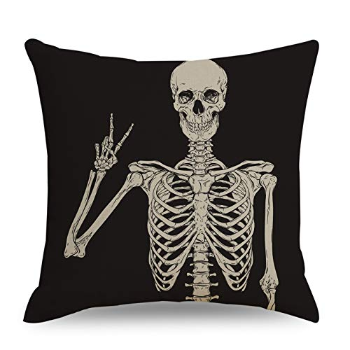 QIQIANY Skull Decoraive Throw Pillow Cover Square Linen Fabric Black Goth Decor Funny Halloween Cushion Cover Throw Pillow Case for Sofa Bed Car Chair Living Room (Human Skeleton/18x18 Inch)