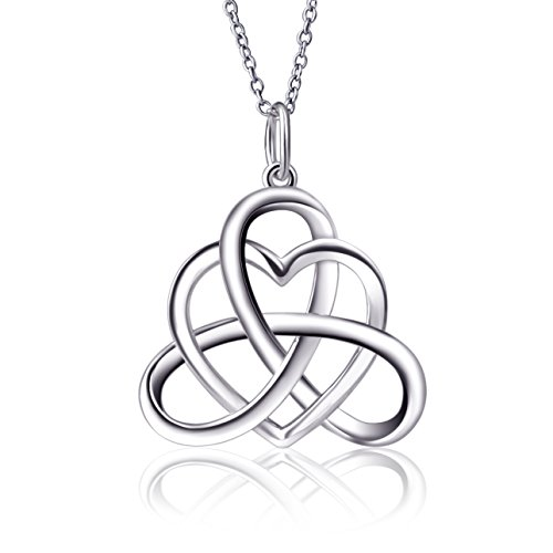 925 Sterling Silver Vintage Good Luck Irish Heart Triangle Celtic Knot Pendant Necklace for Women Teen Girls, Rolo Chain 18'