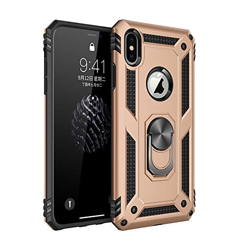 Rugged Flexible Protection case New Dual Layer Hybrid Shockproof Protection Case with 360 Degree Metal Rotating Finger Ring Holder Design for iPhone X/XS (Color : Gold)
