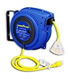 Goodyear Extension Cord Reel, 40 ft, 14AWG/3C SJTOW, Triple Tap with LED Lighted Connector, Heavy Duty