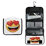 Alarge - Bolsa de aseo colgante para maquillaje, diseño de emoción de San Valentín, grande, portátil, bolsa de cosméticos de viaje, organizador de maquillaje para mujeres y hombres