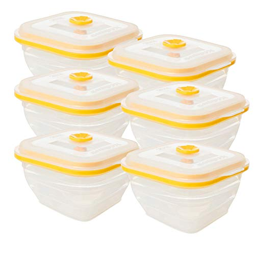 Collapse-it Silicone Food Storage Containers - BPA Free Airtight Silicone Lids Collapsible Lunch Box Containers - Oven, Microwave, Freezer Safe ((6) Yellow Clear 2-Cup (Square))