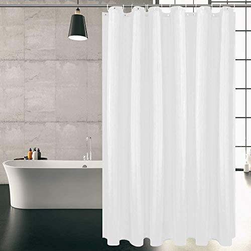 KIPIDA Duschvorhang Textil, Anti-Schimmel, Wasserdichter, Waschbar Anti-Bakteriell Stoff Polyester Badewanne Vorhang mit 8 Duschvorhängeringen, 180x200cm, Weiß