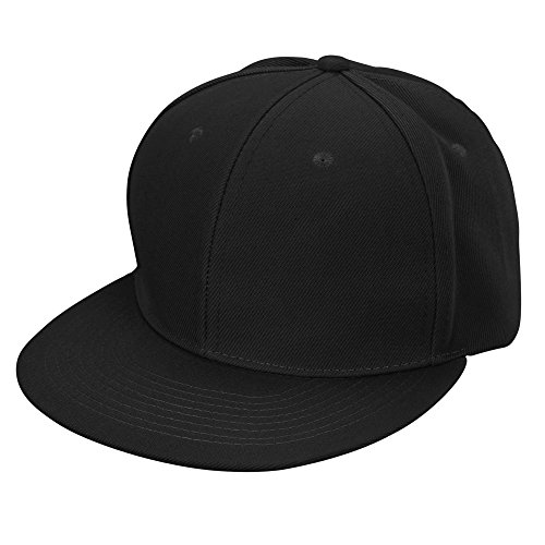 DALIX Flat Billed Baseball Cap Adjustable Hat Size M L XL in Black