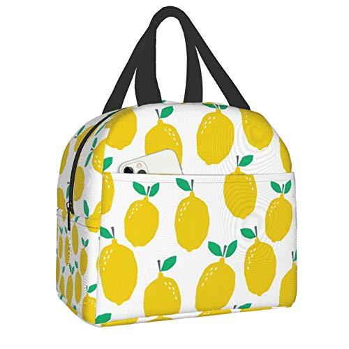 antfeagor Lemon Fruit Yellow Tropical Citrus Summer Fruit Lunch Box Insulated Meal Bag Lunch Bag Reusable Snack Bag Food Container for Boys Girls Men Women School Work Travel Picnic