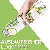 Cosumy Trinkflasche aus Glas mit Filzhülle für Unterwegs - 750ml Glasflasche - Auslaufsicher - Robustes Borosilikatglas - 5