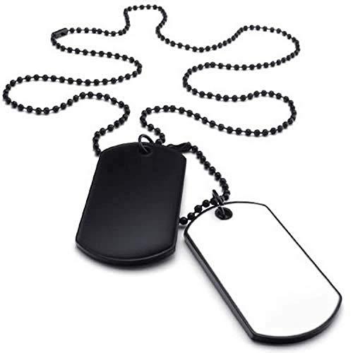 SODIAL(R) Collar Militar Collar de joyeria para Hombre, Colgante de 2 Placas de identificacion Militares de Estilo del Ejercito Etiqueta de Perro con Cadena de 68cm, Blanco Negro