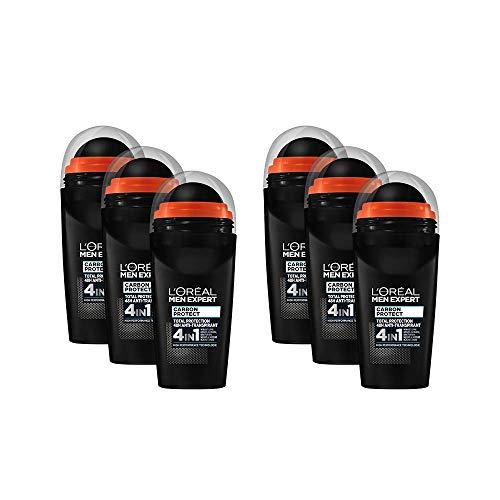 L'Oréal Men Expert - Desodorante Roll-On, Carbon Protect, 6 unidades 4 en 1, protección en el deporte, contra el sudor, el olor, las bacterias y los residuos blancos (6 x 50 ml)