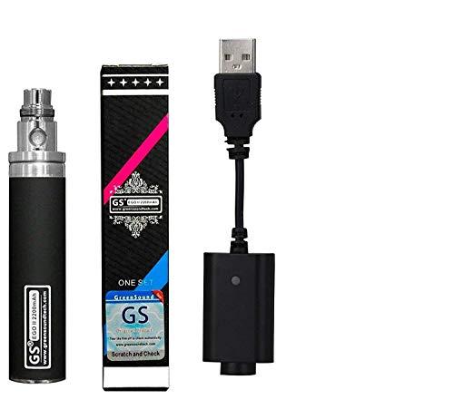 eGo II 2200mAh E-Cigarette Indicador LED de 3 colores Batería y cable USB, sin nicotina y tabaco (negro)