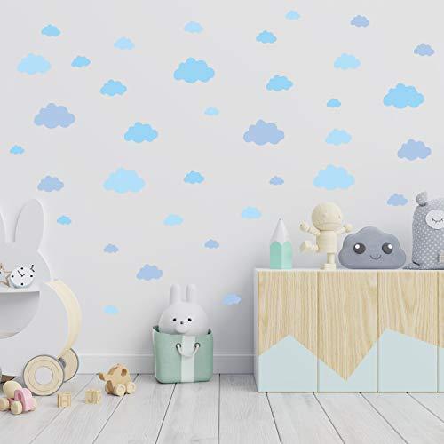 36 Nuvole adesive per camerette   Sticker nuvola adesive per parete cameretta in gradazioni di azzurro   Adesivi ATTACCA e STACCA ideali per decorare le pareti