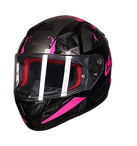 SMINNG Casco Integral para Motocicleta,Aprobado Dot/ECE Motocicleta, Ciclomotor Casco Integrado para Motocicleta,Adultos Hombres Cascos De Seguridad con Visera C,L(59~60cm)
