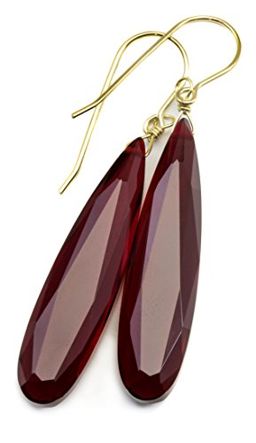 14k Gold Red Simulated Ruby Earrings Long Narrow Faceted Teardrops Simple Drops 2 Inch