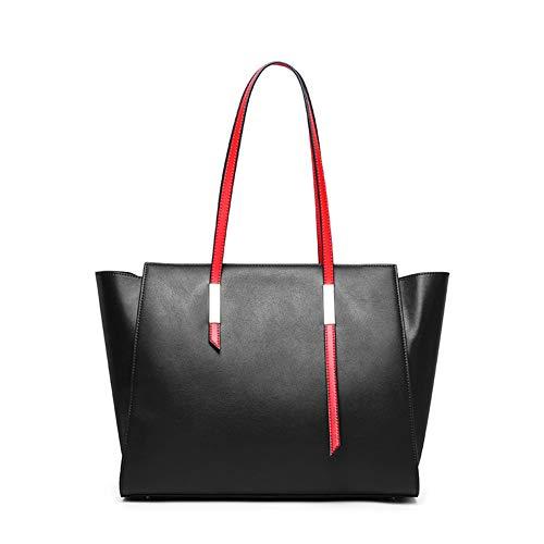 Lederhandtasche, Schultertasche, Große Kapazität Tasche Damen Handtasche Leder Shopper Tasche Schultertasche Für Schule Reisen Arbeit Und Einkäufe(Rot, Schwarz, Blau),Black