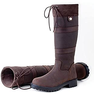 Rhinegold Unisex Elite Brooklyn Leather Boots with A Suede Cuff and Drawstring Detail, Brown, Size 5:Deepld