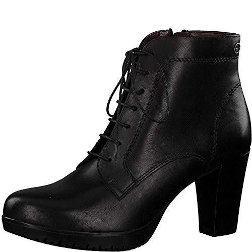 Tamaris Damen Stiefeletten, Frauen Schnürstiefelette, halb-Stiefel schnür-Bootie übergangsschuh weiblich Lady Ladies Women's,Black,40 EU / 6.5 UK