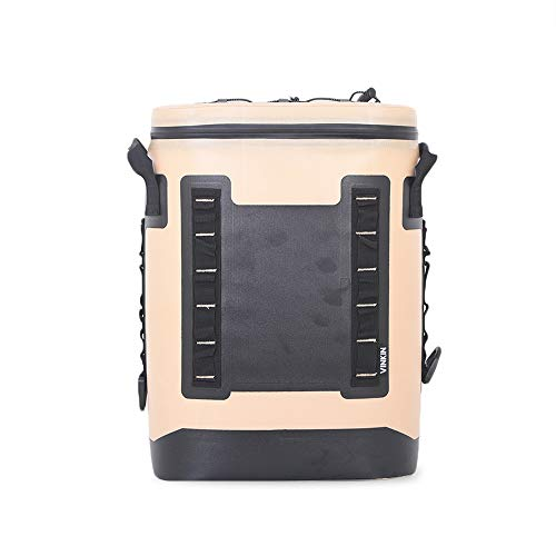 ARTST 24 Cans Soft Cooler Backpack, 18L Heavy Duty Leak-Proof Waterproof Portable Insulated Coolers for Taking Lunch, Camping, Picnics, Sea Fishing, Trip to Beach (Khaki)