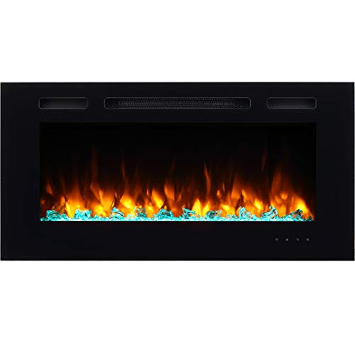 PuraFlame Alice 50 Inches Recessed Electric Fireplace, Wall Mounted for 2 X 6 Stud, Log Set & Crystal, 1500W Heater, White