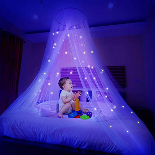 Ciaoed Mosquito Net with Luminous Stars,Stars Glow Bed Canopy,Dome Anti-Mosquito Bed Canopy Fits Baby, Kids, Girls Or Adults' Bed