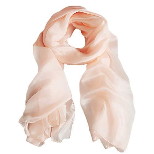 OUMIFA Bufanda Color sólido 100% Gusano de Seda Chal de Seda Bufandas de Seda Toalla de Playa Salvaje Conducción de Verano Protector Solar Chal Bufanda Caliente (Color : Pink)