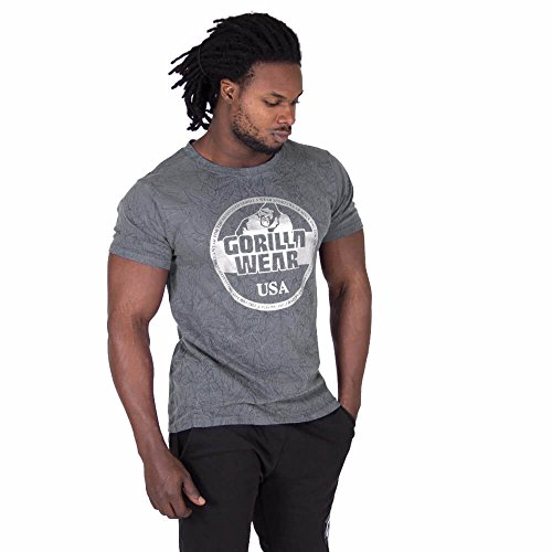 Gorilla Wear Rocklin T-Shirt - grau - Bodybuilding und Fitness Bekleidung Herren, 5XL
