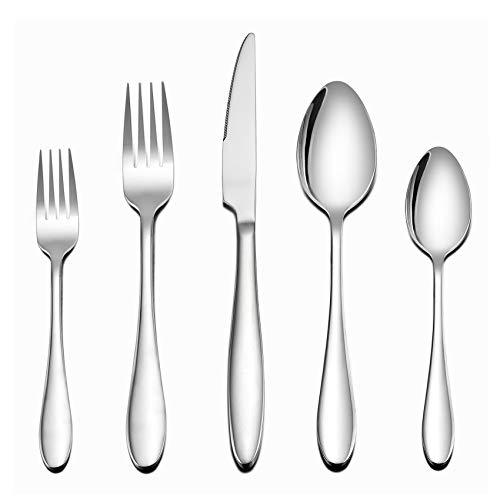 LIANYU 60 Piece Silverware Flatware Set for 12, Stainless Steel Home Kitchen Hotel Restaurant Cutlery Set, Eating Utensils, Mirror Finished, Dishwasher Safe