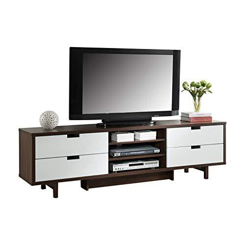 SMART HOME Idoneus 70' Mid Century TV Stand Media Cabinet (Dark Walnut & Glossy White)