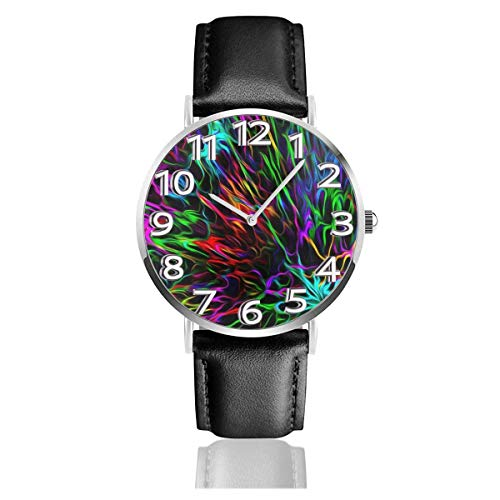 Reloj de Pulsera Líneas de Colores divergentes Cool Black Durable PU Correa de Cuero Relojes de Negocios de Cuarzo Reloj de Pulsera Informal Unisex