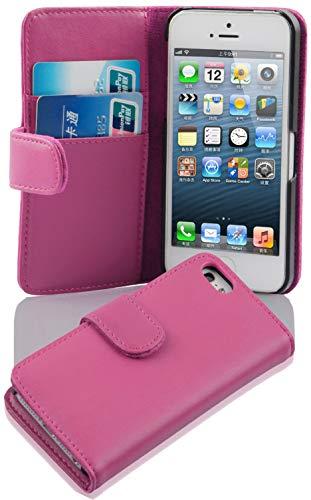 Cadorabo Funda Libro para Apple iPhone 5 / iPhone 5S / iPhone SE en Rosa Antiguo - Cubierta Proteccíon de Cuero Sintético Liso con Tarjetero y Función de Suporte - Etui Case Cover Carcasa