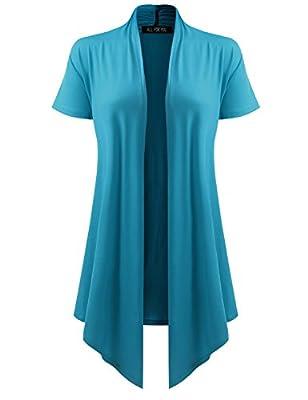 AMORE ALLFY Women's Soft Drape Cardigan Short Sleeve Turquoise X-Large by