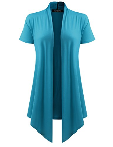 AMORE ALLFY Women's Soft Drape Cardigan Short Sleeve Turquoise Small