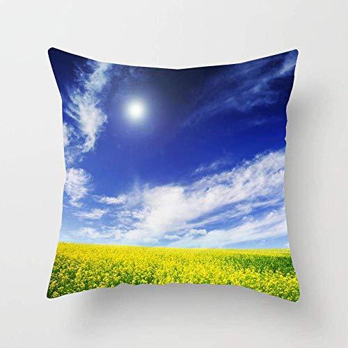 N\A Cornfield Autumn Spring Field Blauer Himmel Natur Cumulus Air Parks Helles Klima Wolkenfarbe Design Kissenbezug Quadrat Kissen Kissenbezug für Bettsofa