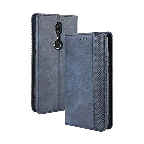 VGANA Tasche Hülle für Sharp Aquos V, Brieftasche Handyhülle Retro Muster mit Magnetverschluss & Ständer Funktion Schutzhülle. Blau