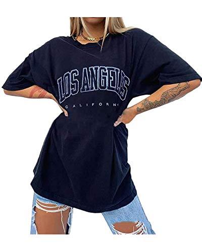 ORANDESIGNE Vintage Oberteile Damen Oversized Tshirt Lustig Streetwear Sonne Mond Motiv Sportshirt Kurzarm Sport Oberteile Sweatshirt Rundhals Teenager Mädchen Top Lang J Schwarz M