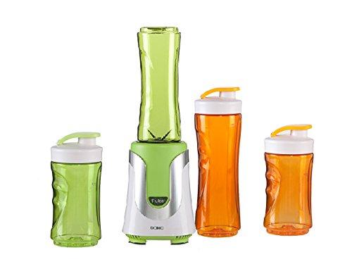 Family Smoothie-Maker 300W Grün, 4 Flaschen (300ml & 600ml je 2 in Grün & Orange)