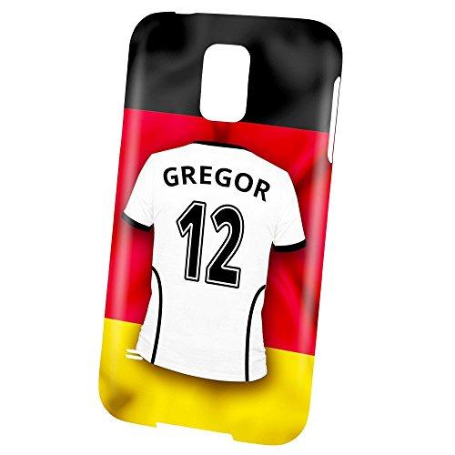 PhotoFancy Samsung Galaxy S5 Handyhülle Premium – Personalisierte Hülle mit Namen Gregor – Case mit Design Fußball-Trikot Deutschland zur WM in Russland 2018