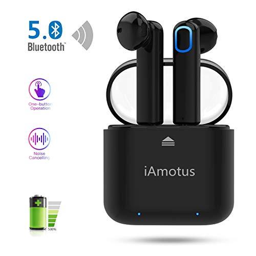 Auriculares bluetooth, iAmotus Auriculares inalámbricos Bluetooth Estéreo In-Ear Deportivos Auriculares TWS Wireless Bluetooth Control Rapida Resistente al Agua con Caja de Carga para iPhone y Android