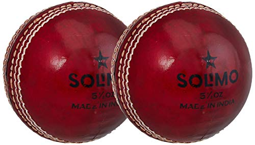 Amazon Brand - Solimo Leather Cricket Ball, 4 Piece, Set of 2