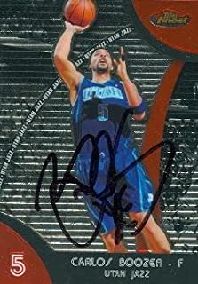 Autograph Warehouse 73843 Carlos Boozer Autographed Basketball Card Utah Jazz 2008 Topps Finest No 8